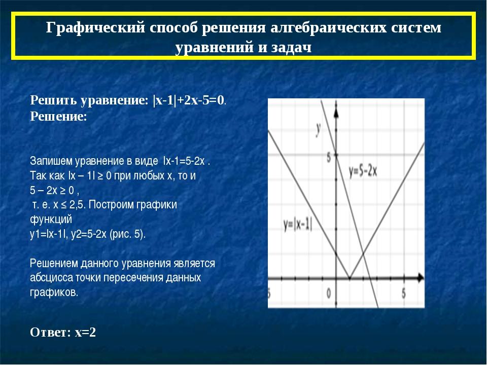Графический способ решения алгебраических систем уравнений и задач Решить ура...