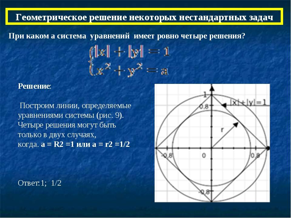 Геометрическое решение некоторых нестандартных задач При каком а система урав...