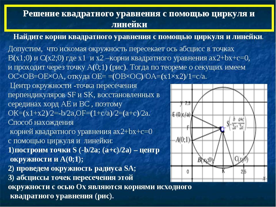 Решение квадратного уравнения с помощью циркуля и линейки Найдите корни квад...