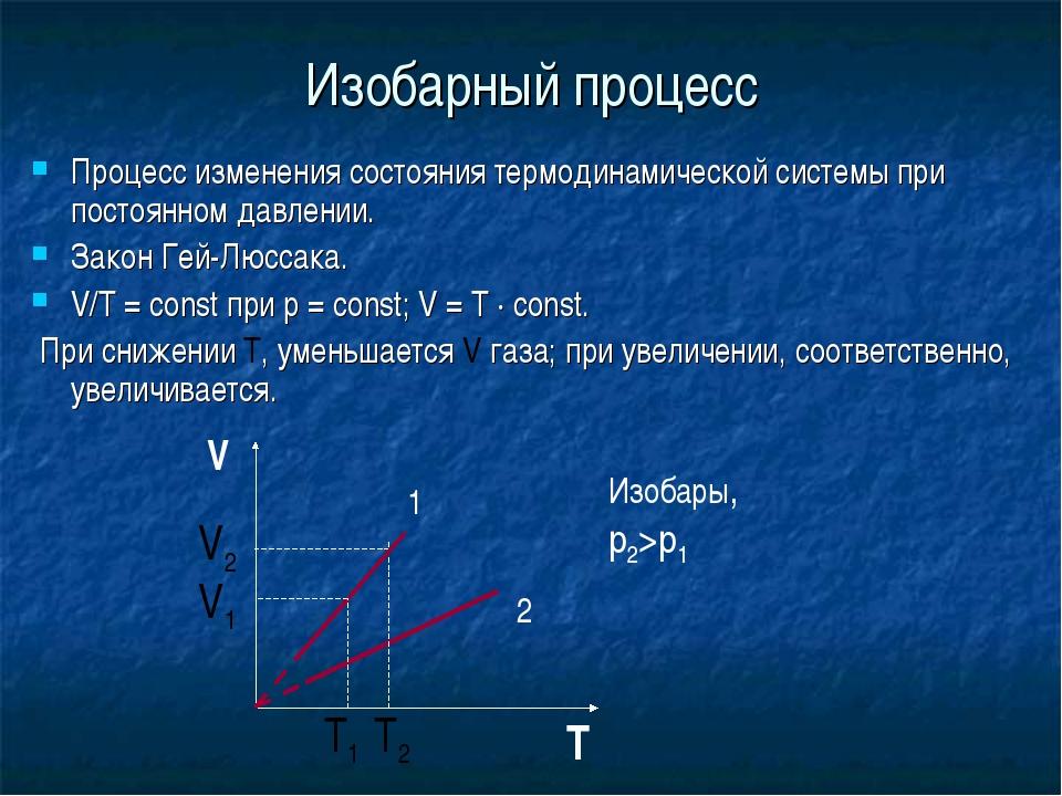 Изобарный процесс Процесс изменения состояния термодинамической системы при п...