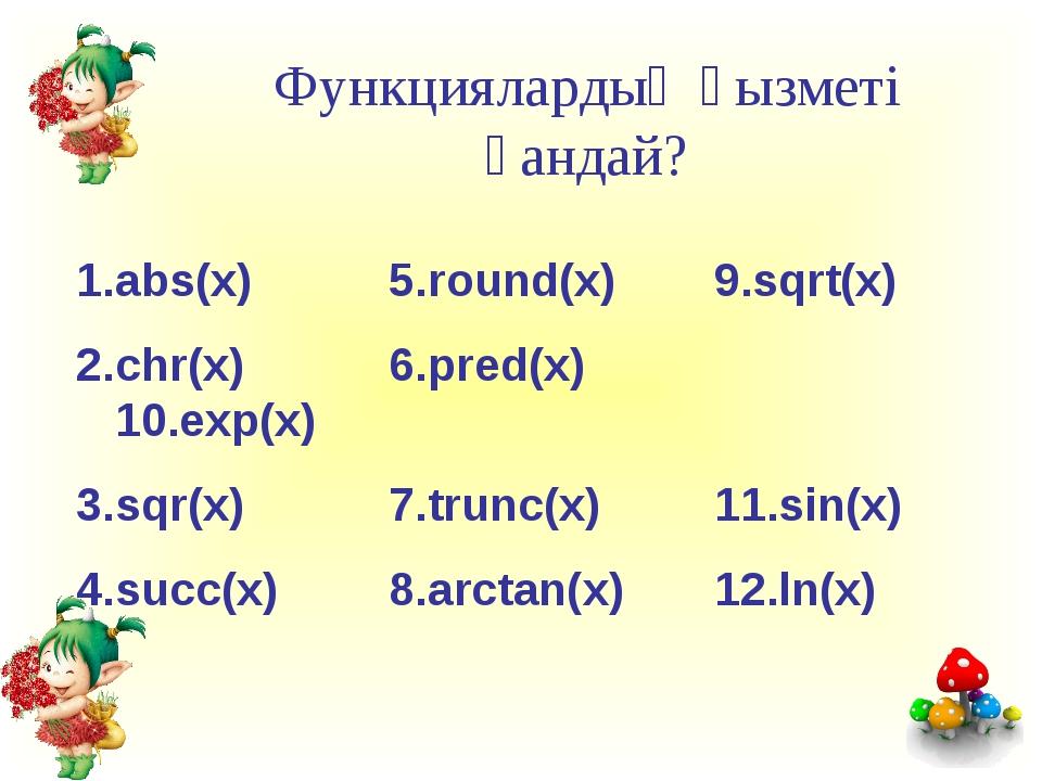Функциялардың қызметі қандай? 1.abs(x)5.round(x) 9.sqrt(x) 2.chr(x) 6.pr...