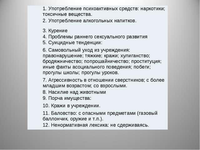 1. Употребление психоактивных средств: наркотики; токсичные вещества. 2. Упот...