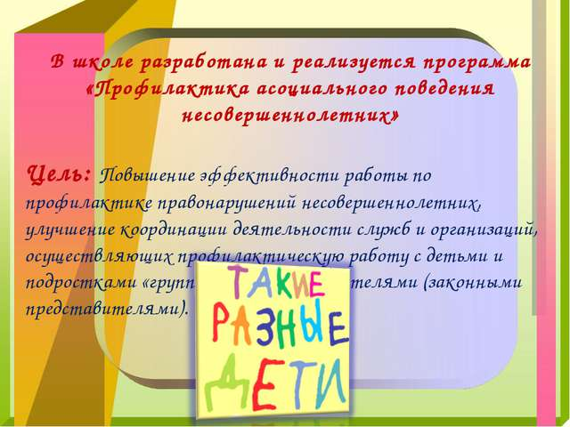 В школе разработана и реализуется программа «Профилактика асоциального поведе...