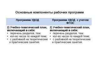 Основные компоненты рабочих программ Программа УДОД Программа УДОДс учетом ФГ