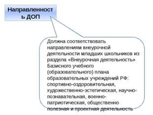 Направленность ДОП Должна соответствовать направлениям внеурочной деятельност