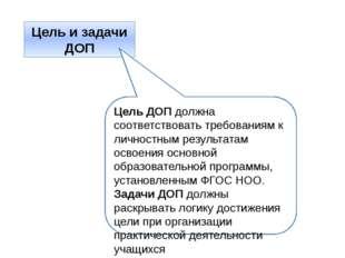 Цель и задачи ДОП Цель ДОП должна соответствовать требованиям к личностным ре
