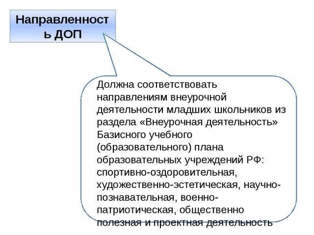Направленность ДОП Должна соответствовать направлениям внеурочной деятельност...