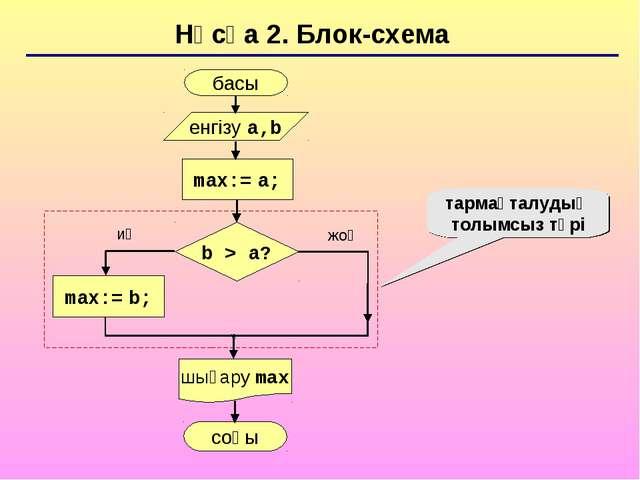 Нұсқа 2. Блок-схема тармақталудың толымсыз түрі