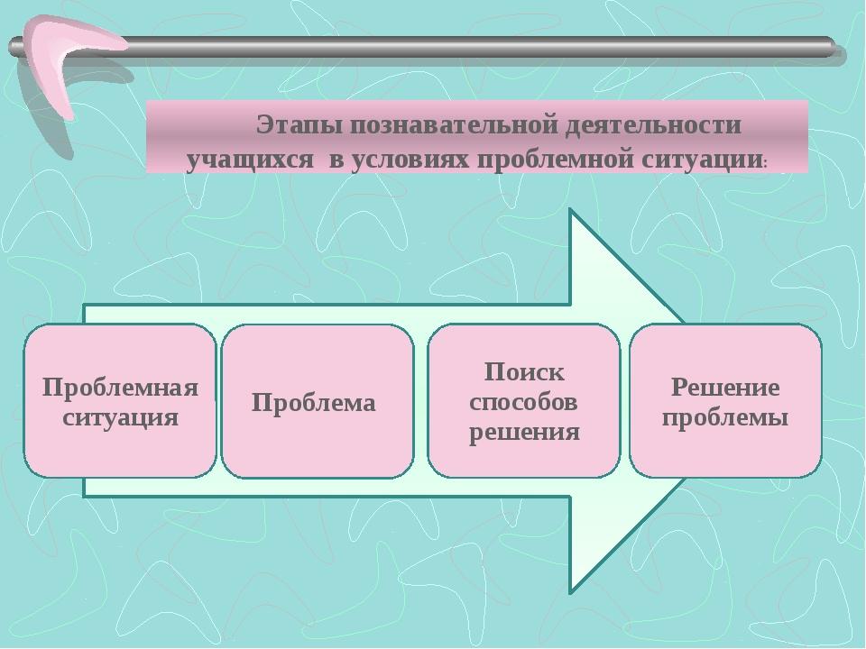 Этапы познавательной деятельности учащихся в условиях проблемной ситуации:
