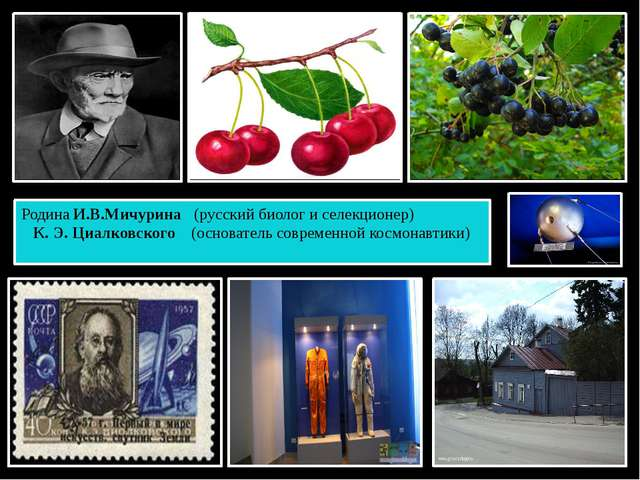 Родина И.В.Мичурина (русский биолог и селекционер) К. Э. Циалковского (основа...