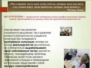 МЕТАПРОБЛЕМА - предполагает понимание разных профессиональных языков, умение