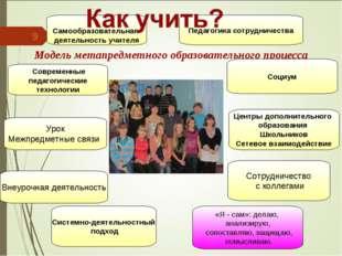Модель метапредметного образовательного процесса * Системно-деятельностный п