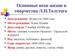 Основные вехи жизни и творчества Л.Н.Толстого Дата рождения: 28 августа 1828