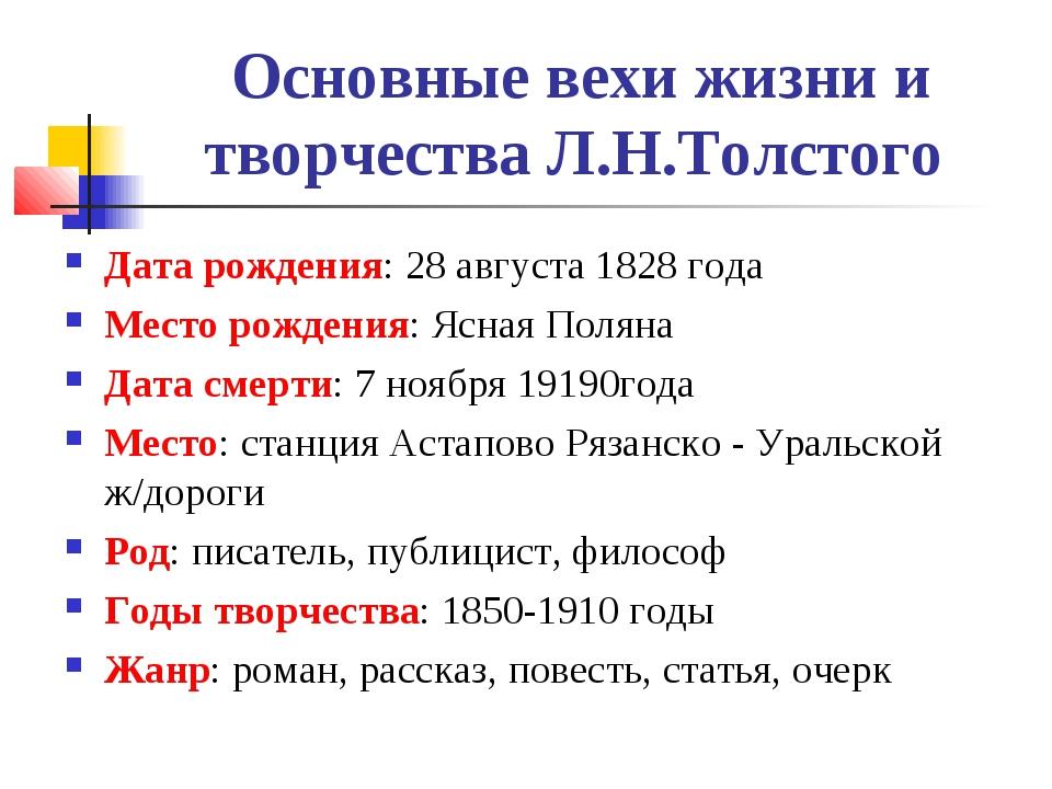 Основные вехи жизни и творчества Л.Н.Толстого Дата рождения: 28 августа 1828...