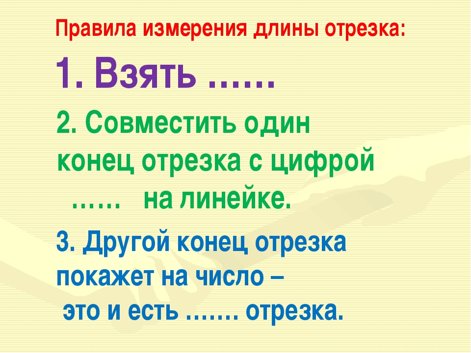 1. Взять …… Правила измерения длины отрезка: 2. Совместить один конец отрезка...