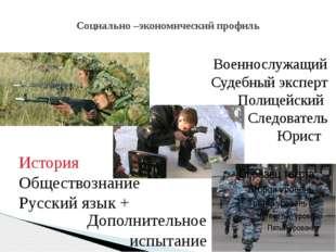 Социально –экономический профиль Военнослужащий Судебный эксперт Полицейский