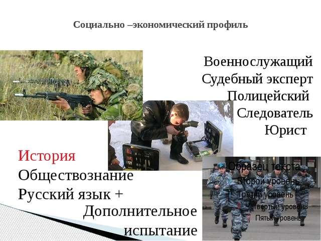 Социально –экономический профиль Военнослужащий Судебный эксперт Полицейский...
