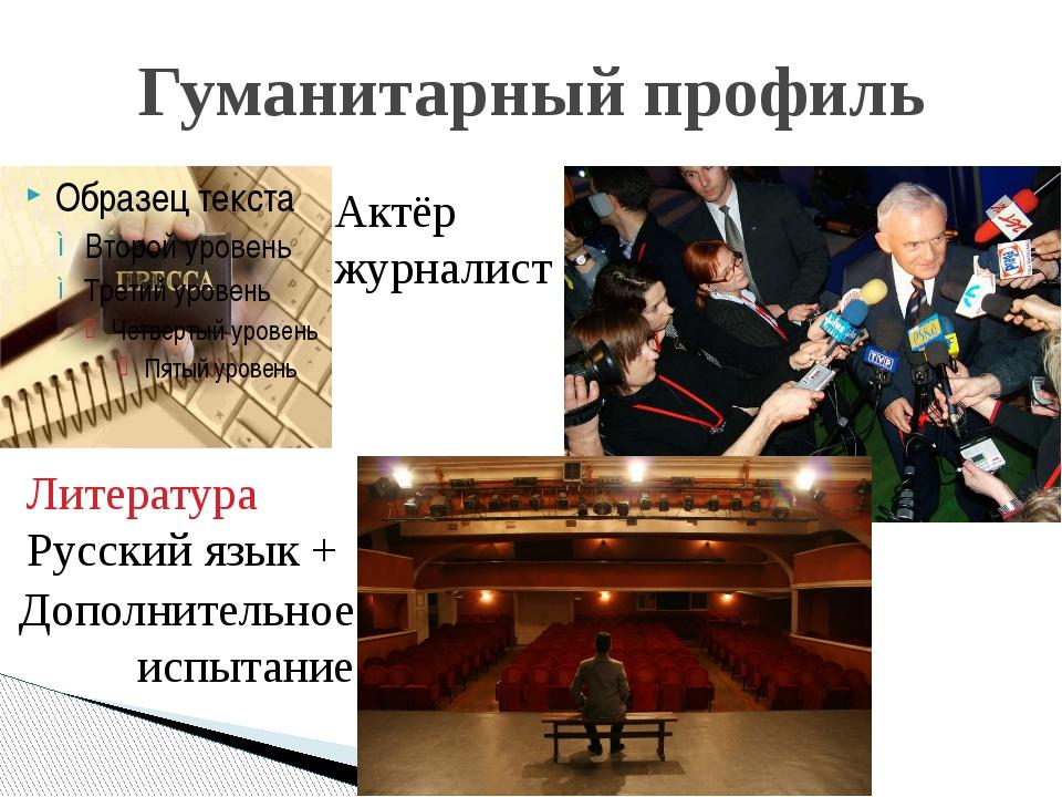 Гуманитарный профиль Актёр журналист Литература Русский язык + Дополнительное...