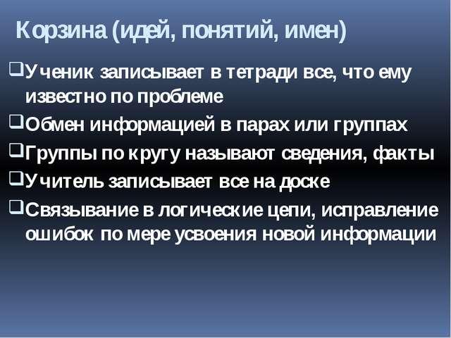 Корзина (идей, понятий, имен) Ученик записывает в тетради все, что ему извест...