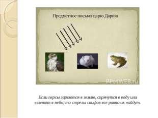 Если персы зароются в землю, спрячутся в воду или взлетят в небо, то стрелы с