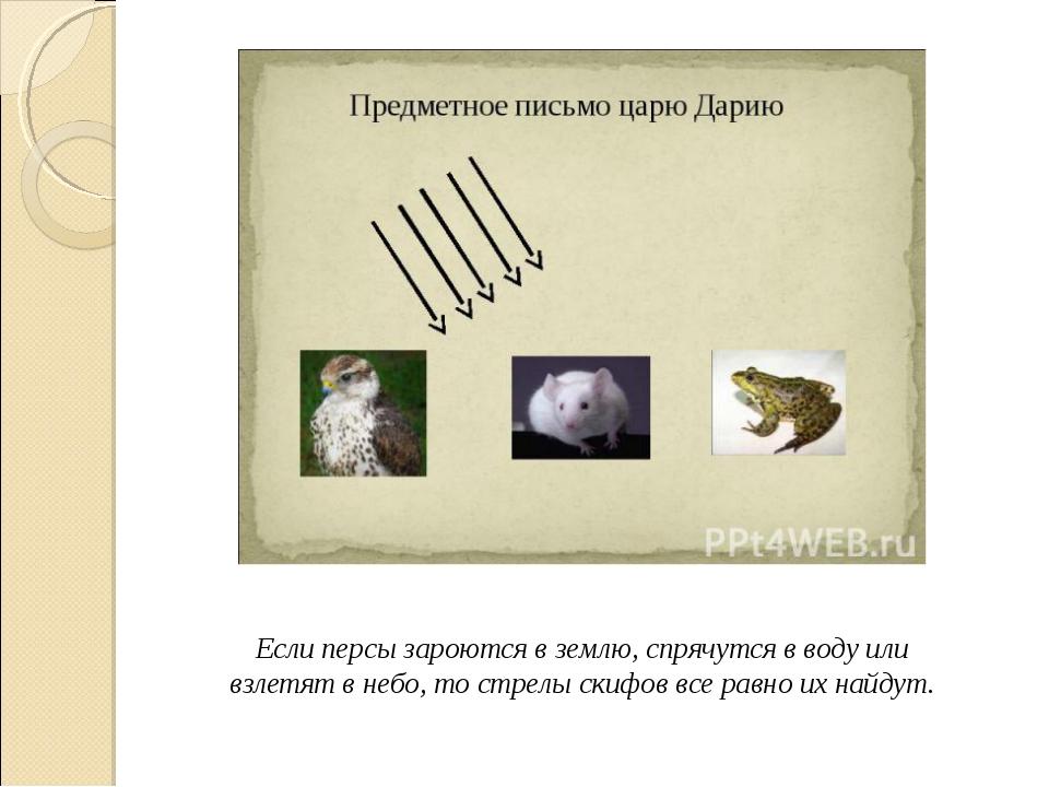 Если персы зароются в землю, спрячутся в воду или взлетят в небо, то стрелы с...