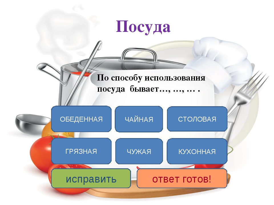 Посуда По способу использования посуда бывает…, …, … . СТОЛОВАЯ КУХОННАЯ ЧАЙН...