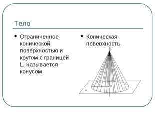 Тело Ограниченное конической поверхностью и кругом с границей L, называется к