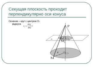 Секущая плоскость проходит перпендикулярно оси конуса Сечение – круг с центро
