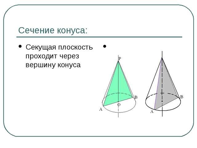Сечение конуса: Секущая плоскость проходит через вершину конуса