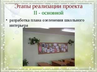 Этапы реализации проекта II - основной разработка плана озеленения школьного