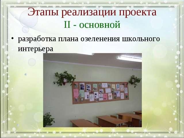 Этапы реализации проекта II - основной разработка плана озеленения школьного...