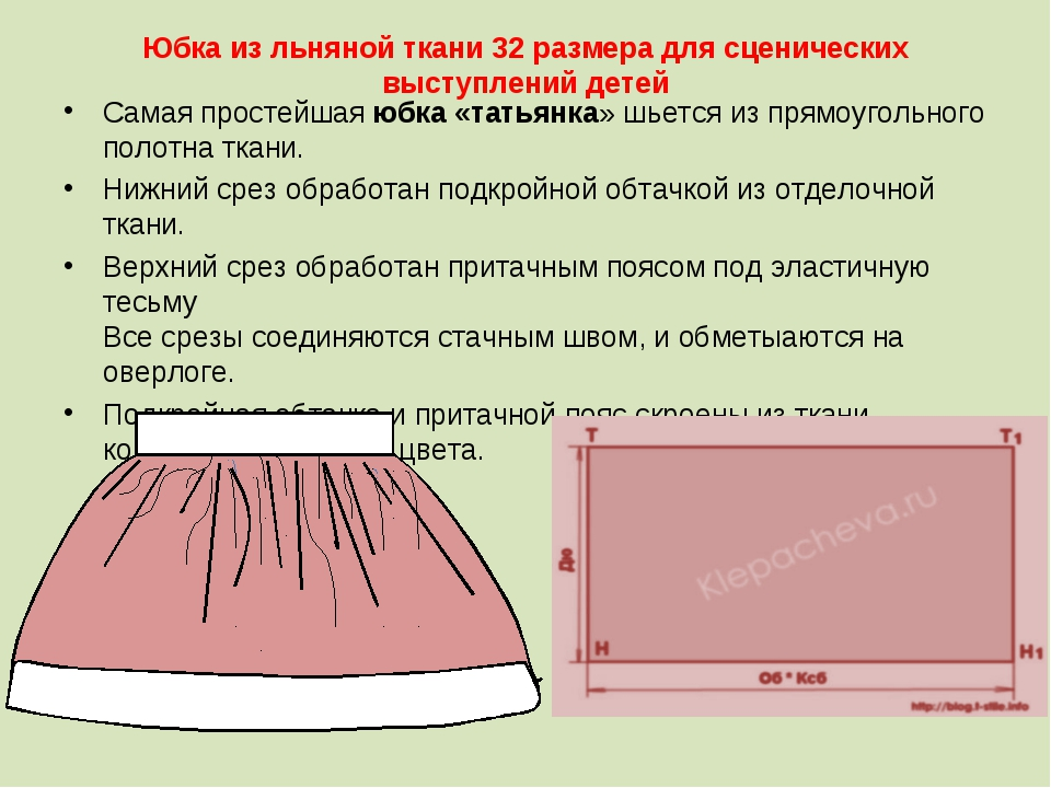 Выкройка юбки для детей своими руками 643