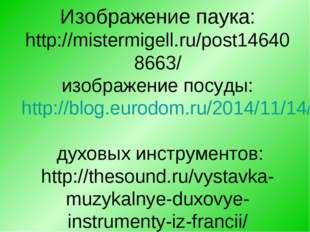 Изображение паука: http://mistermigell.ru/post146408663/ изображение посуды: