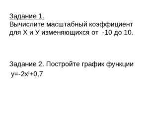 Задание 1. Вычислите масштабный коэффициент для Х и У изменяющихся от -10 до