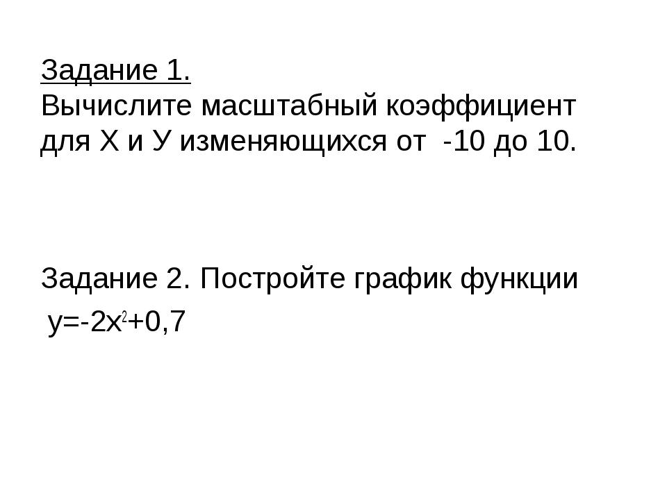 Задание 1. Вычислите масштабный коэффициент для Х и У изменяющихся от -10 до...