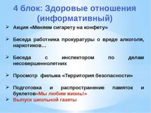 4 блок: Здоровые отношения (информативный) Акция «Меняем сигарету на конфету»