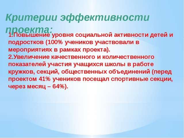 Критерии эффективности проекта: 1.Повышение уровня социальной активности дете...