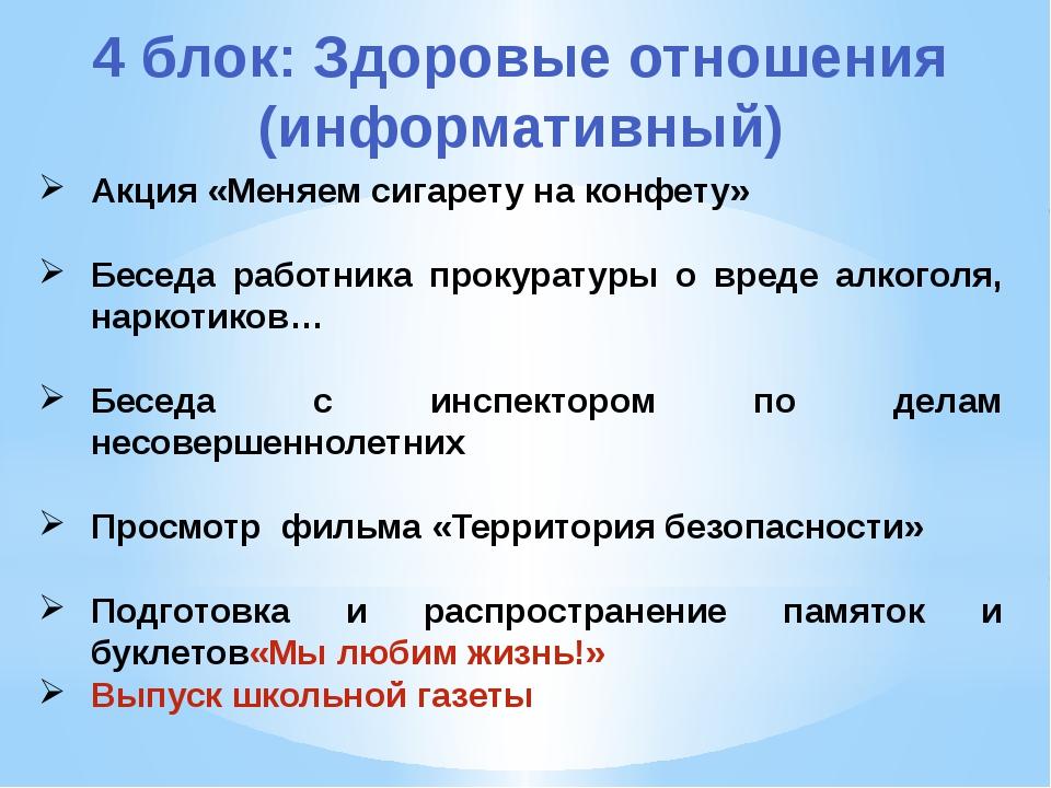 4 блок: Здоровые отношения (информативный) Акция «Меняем сигарету на конфету»...