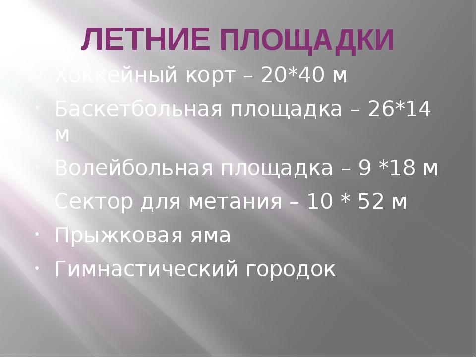 ЛЕТНИЕ ПЛОЩАДКИ Хоккейный корт – 20*40 м Баскетбольная площадка – 26*14 м Вол...