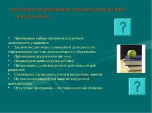 проблемы организации и введения внеурочной деятельности Организация выбора пр