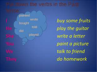 Put down the verbs in the Past tense: painted wrote bought told did played