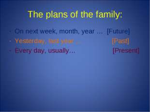 The plans of the family: On next week, month, year … [Future] Yesterday, last