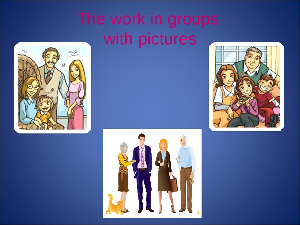 The work in groups with pictures