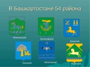 В Башкортостане 54 района Абзелиловский Белокатайский Дуванский Кигинский Меч