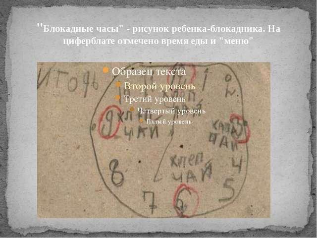 """""""Блокадные часы"""" - рисунок ребенка-блокадника. На циферблате отмечено время е..."""