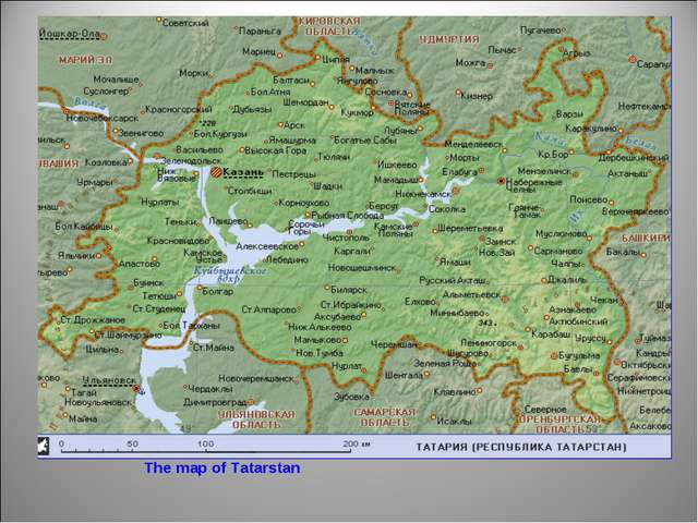 The map of Tatarstan