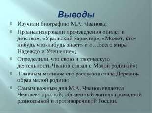 Изучили биографию М.А. Чванова; Проанализировали произведения «Билет в детств
