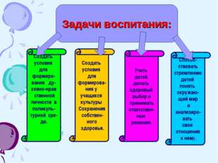 Задачи воспитания: Создать условия для формирова- ния у учащихся культуры Сох