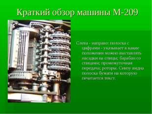 Краткий обзор машины М-209 Слева - направо: полоска с цифрами - указывает в к