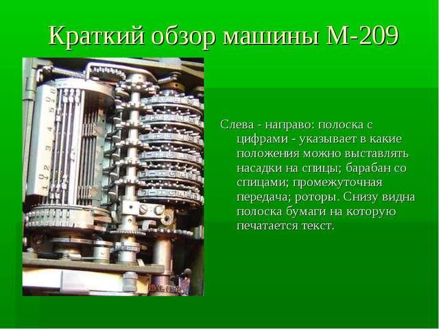 Краткий обзор машины М-209 Слева - направо: полоска с цифрами - указывает в к...